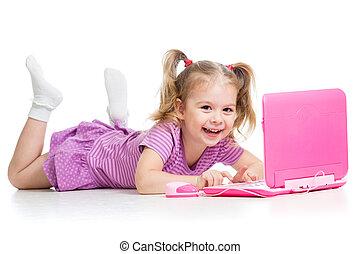 draagbare computer, speelbal, spelend, meisje, kind