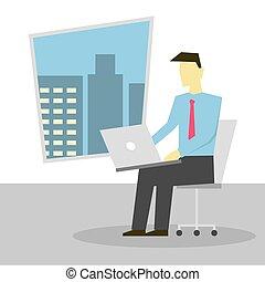 draagbare computer, stoel, schoot, zittende , werkende , zakenman