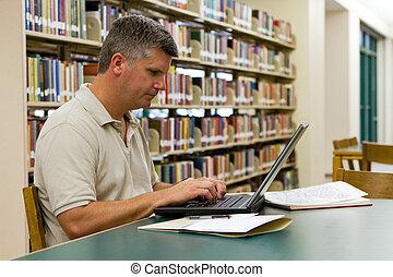 draagbare computer, universiteit, bibliotheek