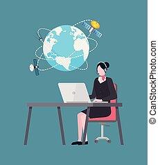 draagbare computer, vector, internet, werkende , verbinding