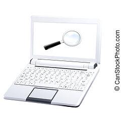 draagbare computer, vergroten, glas., leeg, het witte scherm
