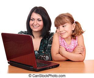 draagbare computer, vrolijke , meisje, kind