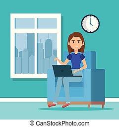 draagbare computer, vrouw, scène, bibliotheek