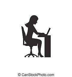 draagbare computer, vrouw, silhouette, werkende , zakelijk