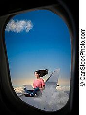 draagbare computer, vrouw, vleugel, schaaf, zittende