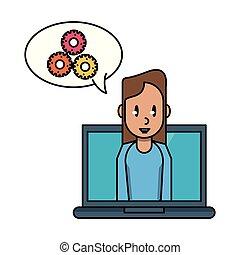 draagbare computer, vrouw, werkende
