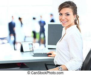 draagbare computer, vrouw, werkende , handel team