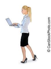 draagbare computer, vrouw zaak