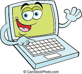 draagbare computer, waving., computer, spotprent, vrolijke