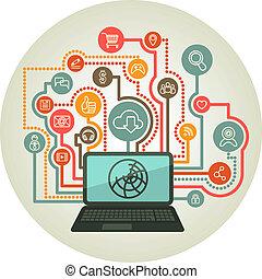 draagbare computer, wisselwerking, online