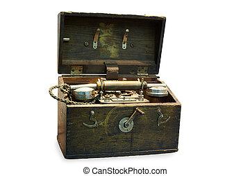draagbare telefoon, apparaat, in, houten geval