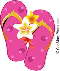 draai mislukking om, sandalen, met, plumeria, bloemen