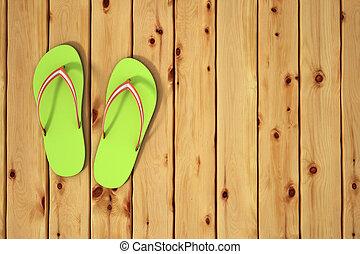 draai mislukking om, sandalen, op, hout, board., strand, concept.