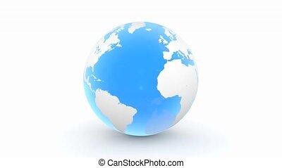 draaien, 3d, globe, -, transparant, blauwe