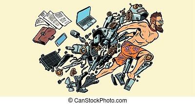 draaien, menselijk, robot, kunstmatige intelligentie