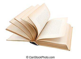 draaien, pagina's, van, oud, boek