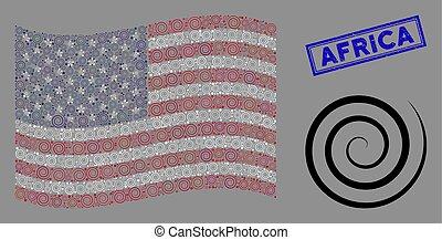 draaikolk, zeehondje, collage, staten, verenigd, vlag, textured, afrika