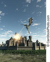 draak, attcking, een, middeleeuws, stad