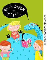 draak, boek, lezende , kinderen