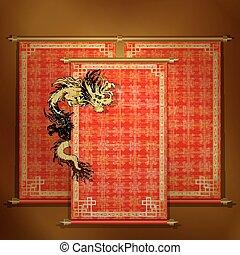 draak, boekrol, chinees, rood