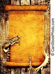 draak, en, boekrol, van, oud, perkament