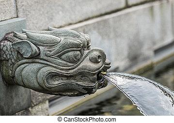 draak, fontijn, chi, lin, nonnenklooster, kowloon, hong kong