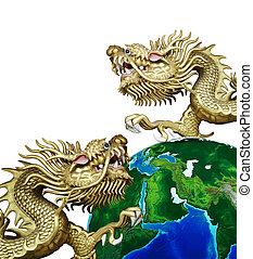 draak, gouden, globaal, chinees, duo