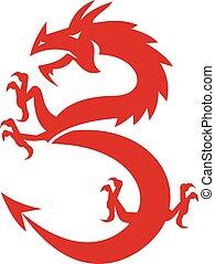 draak, silhouette, retro, prancing, rood