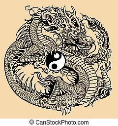 draak symbool, yin, vasthouden, yang