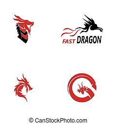 draak, vector, illustratie, pictogram