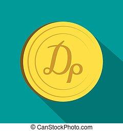 Drachma icon, flat style