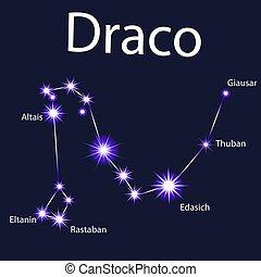 draco, céu, ilustração, estrelas, noturna, constelação