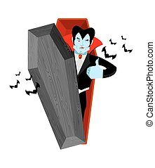 Dracula and coffin. Vampire Thumbs up shows well. Ghoul winks. Signs all right. Jolly Good vampire. Mimicry smile on his face. Gesture of hand in order. Illustration for halloween. Bats and open casket
