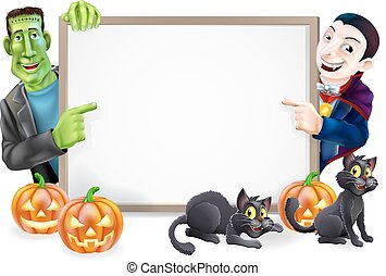 Halloween sign or banner with orange Halloween pumpkins and black witch's cats, witch's broom stick and cartoon Frankenstein monster and Dracula vampire characters