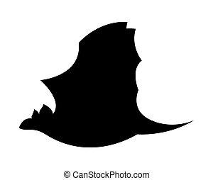 Dracula Bat Flying Silhouette