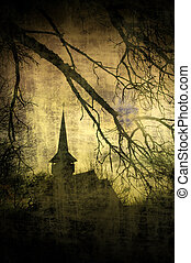 Dracula castle, Transylvania - Vintage image of Dracula...