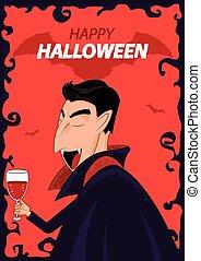 dracula, halloween., betű, vektor, háttér, poszter, boldog