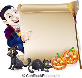 dracula, halloween, vampiro, rotolo
