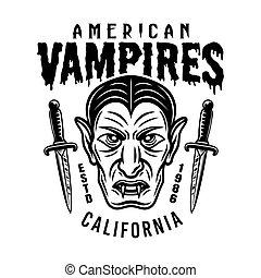 Dracula head vector emblem or t-shirt print design