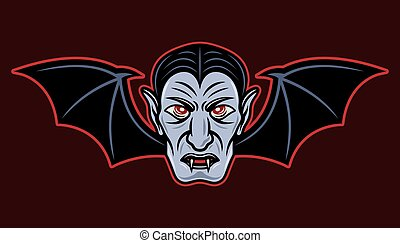 Dracula head with bat wings vector illustration