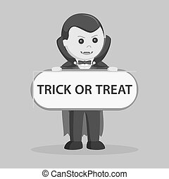 Dracula holding trick or treat sign