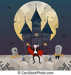 dracula, illustration., conde, castillo, halloween, vector,...
