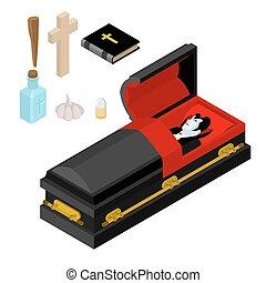 dracula, in, coffin., vampyr, räkning, in, svart, casket., anti, vampyrer, tools., sätta, för, utrotning, och, tillintetgörelse, av, ghoul:, vigvatten, och, bible., kors, och, asp, stake., vitlök, och, silver projektil