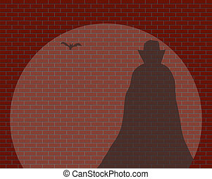 Dracula In The Spotlight - A Dracula and a bat shadow in a...