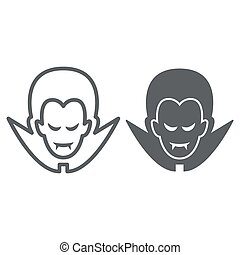 Dracula line and solid icon, Halloween concept, Vampire sign on white background, Dracula head icon in outline style for mobile concept and web design. Vector graphics.