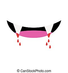 dracula mouth with blood halloween flat style icon