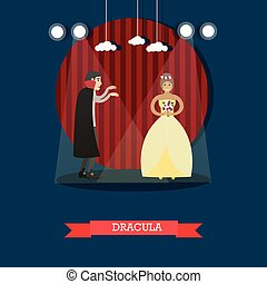 Vector illustration of episode from Dracula horror movie or theatrical performance based on novel by Bram Stoker. Flat style design element.