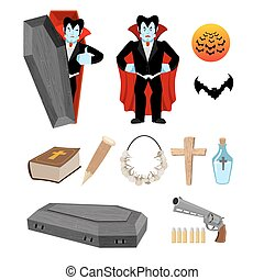 Dracula set. Vampire and bats. Weapon against vampires. Garlic and silver bullets. Bible and holy water. Aspen stake and cross. Set for destruction ghoul
