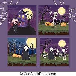 dracula skeleton death banners halloween