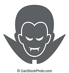 Dracula solid icon, Halloween concept, Vampire sign on white background, Dracula head icon in glyph style for mobile concept and web design. Vector graphics.
